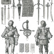 Knight's armor and weapons. - Stock Vector