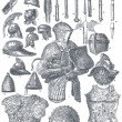 "Knightly armor and weapons. Publication of the book ""Meyers Konversations-Lexikon"", Volume 7, Leipzig, Germany, 1910 - Stock Vector"