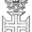 The Military Order of Christ (Portugal, 1318). Publication of the book &amp;quot;Meyers Konversations-Lexik on&amp;quot;, Volume 7, Leipzig, Germany, 1910 - Stock Vector