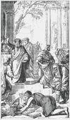 Stará rytina. efezským spálit knihy po kázání apoštola pavla — Stock vektor