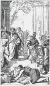 古い彫刻。エペソ人への使徒パウロの説教の後、本を燃やす — ストックベクタ