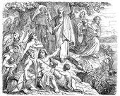 Old engravings. Depicts Saint Columbanus — Stock Vector