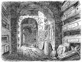 Old engravings. Shows the Catacombs of Rome — Stock Vector
