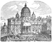 Old engravings. Shows the Papal Basilica of Saint Peter. — Stock Vector