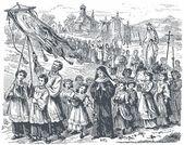 Staré rytiny. Zobrazí Svátek Panny Marie — Stock vektor