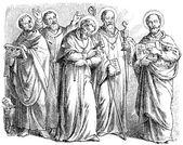 Depicts St. Dominic, St. Alphonsus Maria de Liguori, St. Benedict of Nursia, St. Francis of Assisi, St. Ignatius of Antioch — Stock Vector
