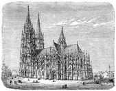 Old engravings. Shows the Cologne Cathedral (High Cathedral of Sts. Peter and Mary). — Stock Vector
