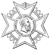 "Order of Merit for Art and Science (Saxe-Meiningen, 1874). Publication of the book ""Meyers Konversations-Lexik on"", Volume 7, Leipzig, Germany, 1910 — Stock Vector"