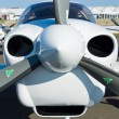 "Close-up of turboprop engine Diamond DA42 Twin Star, International Aerospace Exhibition ""ILA Berlin Air Show"", — Stock Photo"