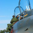 The pilot looks cockpit strike fighter-bomber, carrying nuclear weapons Dassault Mirage 2000N - Stock Photo
