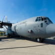 "The Lockheed Martin C-130J ""Super"" Hercules is a four-engine turboprop military transport aircraft — Stock Photo"