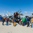 Visitors view the aircraft Panavia Tornado IDS, — Stock Photo