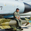 The pilot sits on a laser-guided bomb GBU-24 Paveway III, — Stock Photo