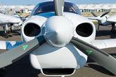 "Close-up of turboprop engine Diamond DA42 Twin Star, International Aerospace Exhibition ""ILA Berlin Air Show"", — Stock Photo"