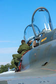 The pilot looks cockpit strike fighter-bomber, carrying nuclear weapons Dassault Mirage 2000N — Stock Photo