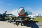 The Eurofighter Typhoon is a twin-engine, canard-delta wing, multirole fighter, — Stock Photo