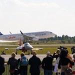 "BERLIN - SEPTEMBER 14: Passenger airplane Airbus A320, International Aerospace Exhibition ""ILA Berlin Air Show"", September 14, 2012 in Berlin, Germany — Stock Photo"