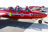 """BERLIN - SEPTEMBER 14: The two-seat jet trainer Fouga Magister CM-170, International Aerospace Exhibition """"ILA Berlin Air Show"""", September 14, 2012 in Berlin, German — Stock Photo"""
