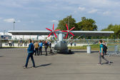 "BERLIN - SEPTEMBER 14: The Singular Aircraft SA03 is a unmanned aerial vehicle flying boat, International Aerospace Exhibition ""ILA Berlin Air Show"", September 14, 2012 — Stock Photo"