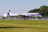 "BERLIN - SEPTEMBER 14: The Douglas DC-6B is a piston-powered airliner, International Aerospace Exhibition ""ILA Berlin Air Show"", September 14, 2012 in Berlin, German — Foto Stock"