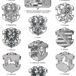 "Coats of Arms of the Kingdom of Prussia. Publication of the book ""Meyers Konversations-Lexikon"", Volume 7, Leipzig, Germany, 1910 - Stock Photo"