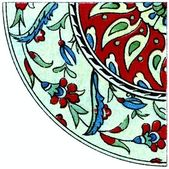 "Ornament. Turkish earthenware (17-18 century). Publication of the book ""Meyers Konversations-Lexikon"", Volume 7, Berlin, Germany, 1910 — Stock Photo"