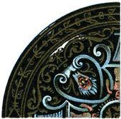 """Patrón esmaltado placas (limoges, siglo xvi). publicación del libro """"meyers konversations-lexikon"""", volumen 7, berlín, alemania, 1910 — Foto de Stock"""