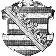 """Coat of Arms of Saxony (Province of Kingdom of Prussia). Publication of the book """"Meyers Konversations-Lexikon"""", Volume 7, Leipzig, Germany, 1910 — Stock Vector"""