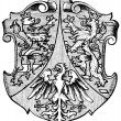 "Coat of Arms Hesse-Nassau, (Province of Kingdom of Prussia). Publication of the book ""Meyers Konversations-Lexikon"", Volume 7, Leipzig, Germany, 1910 — Stock Vector"
