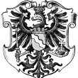 "Coat of Arms Rhineland, (Province of Kingdom of Prussia). Publication of the book ""Meyers Konversations-Lexikon"", Volume 7, Leipzig, Germany, 1910 — Stock Vector"
