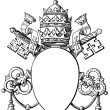 "Papal coat of arms, and Tiara. The Roman Catholic Church. Publication of the book ""Meyers Konversations-Lexikon"", Volume 7, Leipzig, Germany, 1910 - Stock Vector"