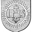 "Coat of Arms Society of Jesus. The Roman Catholic Church. Publication of the book ""Meyers Konversations-Lexikon"", Volume 7, Leipzig, Germany, 1910 — Stock Vector"