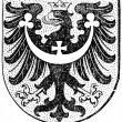 "Coat of arms of Silesia, (Austro-Hungarian Monarchy). Publication of the book ""Meyers Konversations-Lexikon"", Volume 7, Leipzig, Germany, 1910 — Stock Vector"