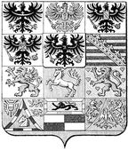 "Coats of Arms of the Kingdom of Prussia. Publication of the book ""Meyers Konversations-Lexikon"", Volume 7, Leipzig, Germany, 1910 — Stock Vector"