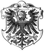 "Coat of Arms West Prussia, (Province of Kingdom of Prussia). Publication of the book ""Meyers Konversations-Lexikon"", Volume 7, Leipzig, Germany, 1910 — Stock Vector"