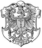 "Coat of Arms Brandenburg, (Province of Kingdom of Prussia). Publication of the book ""Meyers Konversations-Lexikon"", Volume 7, Leipzig, Germany, 1910 — Stock Vector"