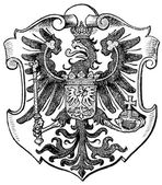"Coat of Arms Poznan, (Province of Kingdom of Prussia). Publication of the book ""Meyers Konversations-Lexikon"", Volume 7, Leipzig, Germany, 1910 — Stock Vector"