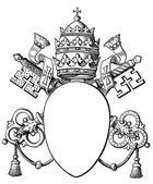"Papal coat of arms, and Tiara. The Roman Catholic Church. Publication of the book ""Meyers Konversations-Lexikon"", Volume 7, Leipzig, Germany, 1910 — Stock Vector"