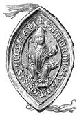 "Stamp bishop Heirich von Konstanz, 1235. The Roman Catholic Church. Publication of the book ""Meyers Konversations-Lexikon"", Volume 7, Leipzig, Germany, 1910 — Stock Vector"