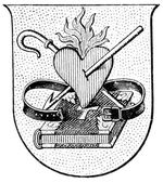 "Coat of Arms of a monastic order Augustinians. The Roman Catholic Church. Publication of the book ""Meyers Konversations-Lexikon"", Volume 7, Leipzig, Germany, 1910 — Stock Vector"