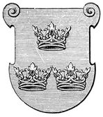 """Coat of Arms Order of the Sisters of St. Elizabeth. The Roman Catholic Church. Publication of the book """"Meyers Konversations-Lexikon"""", Volume 7, Leipzig, Germany, 1910 — Stock Vector"""