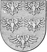 "Coat of arms of the state of Lower Austria (Austro-Hungarian Monarchy). Publication of the book ""Meyers Konversations-Lexikon"", Volume 7, Leipzig, Germany, 1910 — Stock Vector"