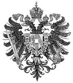 "Smaller coat of arms of the Empire of Austria form Congress of Vienna 1815-1867 (Austro-Hungarian Monarchy). Publication of the book ""Meyers Konversations-Lexikon"", — Stock Vector"
