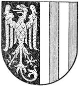 "Coat of arms of the state of Upper Austria (Austro-Hungarian Monarchy). Publication of the book ""Meyers Konversations-Lexikon"", Volume 7, Leipzig, Germany, 1910 — Stock Vector"
