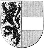 "Coat of arms of Salzburg state, (Austro-Hungarian Monarchy). Publication of the book ""Meyers Konversations-Lexikon"", Volume 7, Leipzig, Germany, 1910 — Stock Vector"
