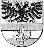 """Coat of arms of Trieste, used until 1918, (Austro-Hungarian Monarchy). Publication of the book """"Meyers Konversations-Lexikon"""", Volume 7, Leipzig, Germany, 1910 — Stock Vector"""