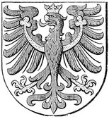 "Coat of arms of County of Tyrol, (Austro-Hungarian Monarchy). Publication of the book ""Meyers Konversations-Lexikon"", Volume 7, Leipzig, Germany, 1910 — Stock Vector"