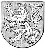 """Coat of arms of the Kingdom of Bohemia, (Austro-Hungarian Monarchy). Publication of the book """"Meyers Konversations-Lexikon"""", Volume 7, Leipzig, Germany, 1910 — Stock Vector"""