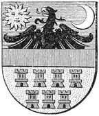 "Coat of arms of Transylvania, (Austro-Hungarian Monarchy). Publication of the book ""Meyers Konversations-Lexikon"", Volume 7, Leipzig, Germany, 1910 — Stock Vector"