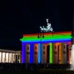 Brandenburg Gate in the original illumination. Festival of Light 2012 — Stock Photo #14110165